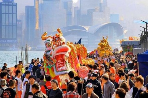 lion and dragon dance parade